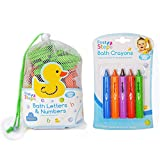 Bath Foam Alphabet Letters & Bath Crayons Set Includes 62 Lowercase & Uppercase Letters, Numbers 1-10 In Handy Net Storage Bag & 5 Colourful Skin Safe Bath Crayons Educational & Fun!