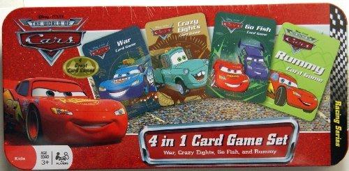 Disney Pixar THE WORLD OF CARS 4 in 1 Card Games Tin Box Set- WAR