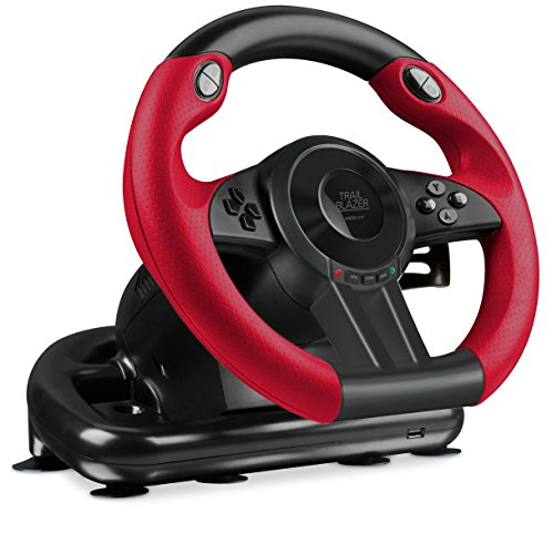 Speedlink TRAILBLAZER Racing Wheel - Multiplattform Lenkrad für Xbox One, Playstation 3 + 4, PC (Minimale Schaltzeiten - Status-LEDs - dosierbare Pedale) für Gaming/Konsole/PC/Notebook/Laptop, schwarz