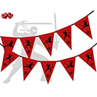 Party Decor Red with Black Print Ninja Themed Bunting Banner 15 flags for simply awesome boy man tough Birthday party decoration
