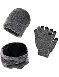 UMIPUBO Handschuhe Schal Mütze Set Herren, Mütze Touchscreen Winter Handschuhe Herren Schal