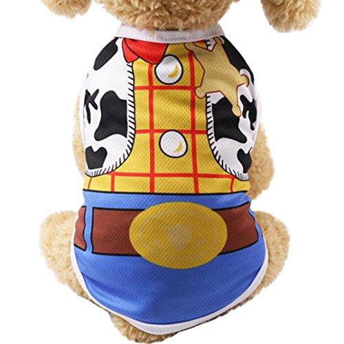Ropa del Chaleco del Perro de Mascota, SunGren Camisa del Chaleco del Gato del Perrito Correa Falsa para Mascotas (M, Amarillo)