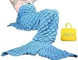 Yier® Mermaid Tail Coperta Crochet per adulti ragazzi Soggiorno Camera da letto divano super soft Coperte Sacchi a pelo-Blue