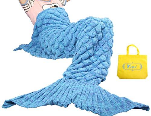 Yier® Meerjungfrau Endstück Häkeln Decke Teens Jugendliche Erwachsene Wohnzimmer Sofa super weiche Decken Schlafsack-Blau