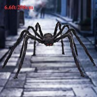 ‏‪VENTIGA 6.6ft/79 Inch Black Giant Hairy Spider Halloween Decorations Outdoor Yard Decor, Vivid Red Eyes with Foldable Legs‬‏