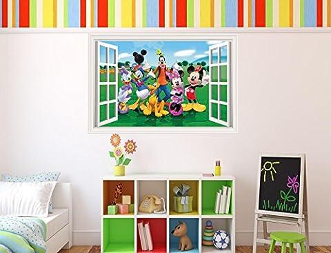 Mickey Mouse Clubhouse 3D Effekt Fenster in Wand Vinyl Aufkleber–geeignet für Kinder Schlafzimmer Wände, Türen und Fenstern., plastik, Extra Large 80 x 53cm