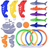 BONROB Colorful Diving Underwater Swimming Toy Rings Torpedo Sharks Pirate Ship Seahorse Dolphin Gold Swimming Pool Toys For Kids Diving BG001