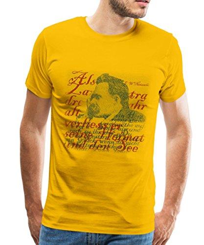 Spreadshirt F.W. Nietzsche Typografie Männer T-Shirt, L, Sonnengelb