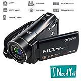 Ordro Videocámara FHD1920* 1080P maX. 24,0MP 16X Zoom Digital Video cámara 3,0pulgadas LCD + Remote Controlador Cámara Digital–modificarse, cara de detección