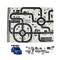 Bicaquu Large Size Parking Lot Baby Crawling Non-woven Mat Car Maps with Signposts Game Rug Toy Set