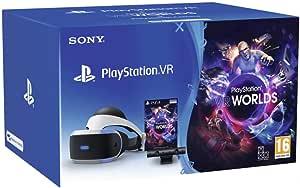 Sony PlayStation VR + PS Camera + VR Worlds, Système compatible avec toute console PS4, Couleur du casque : Noir et blanc, Art. : 9782018