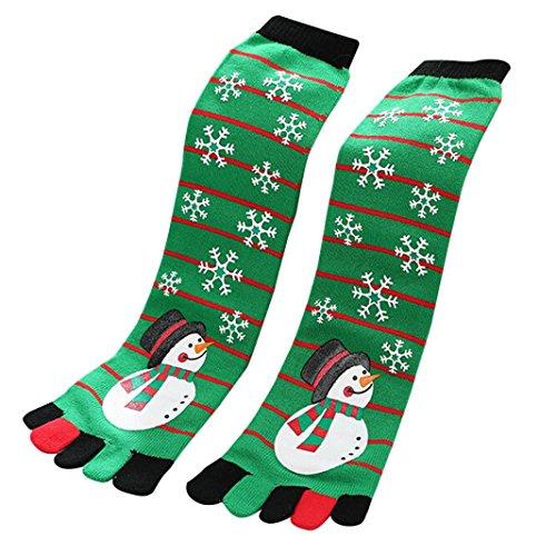 Socken damen Kolylong® Damen Mädchen Weihnachten 5-toe Socken Herbst Winter Warm Socken Lang Elastisch Sport Fußball Socken Knöchelsocken Strümpfe Christmas Stocking (One size, B)