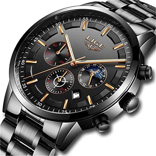 LIGE Uhr Herren Wasserdicht Edelstahl Sport Analog Quartzuhr Mit Beiläufig Chronograph Mond Phase Militär Schwarz Armbanduhr Männer -