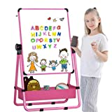 Kid's Art Easel Double-sided Easel for Kids Whiteboard&Chalkboard with Adjustable Stand &Turn 360