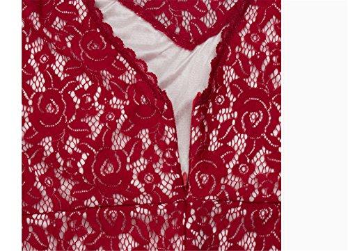 SHUNLIU Damen Spitzen Cocktailkleid 2017 Elegant V-ausschnitten kurzarm Cocktailkleid Rückenfrei Brautjungfer Spitzen Kleid Fishtail Langes Abendkleid Rot