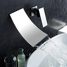 Inchant de plomería de una manija para montaje en pared de bañera extenso de la cascada tocador de baño grifo del fregadero del cromo, latón pulido para lavamanos grifería monomando lavabo