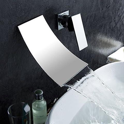 Inchant Sanitär-Befestigungen einzigen Handgriff Wandhalterung verbreitet Wasserfall Badewanne Badezimmer Vanity Waschbecken Wasserhahn Chrom, Messing poliert, Waschtischarmatur (4-loch Montage Hebelgriff)