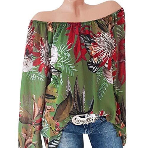 Subfamily Frauen Plus Größe Langarm Blumendruck Schulter Bluse Pullover Tops Hemd Sexy Schulterfrei Langarmshirt Beiläufig Hemd