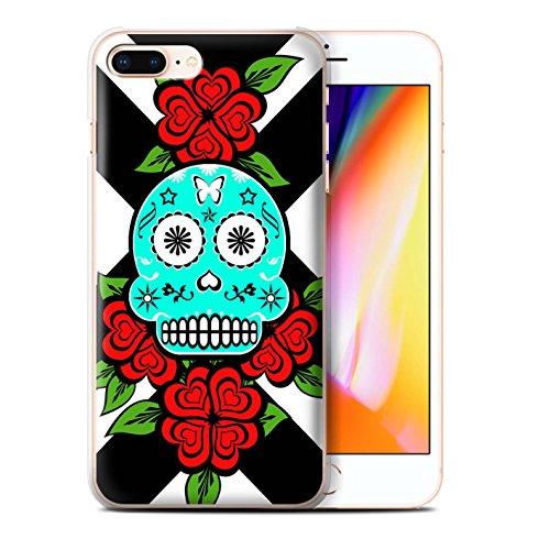 Stuff4 Hülle / Case für Apple iPhone 8 Plus / Grün/Rose Muster / Süßigkeiten Schädel Kollektion Türkis/Rose