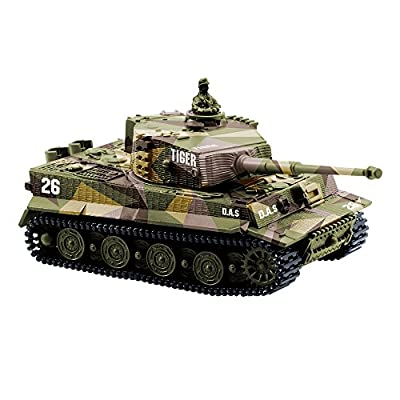 YouCute mini RC Tank with USB charger cable Remote Control Panzer tank 1:72 German Tiger I with Sound, Rotating Turret and Recoil Action When Cannon Artillery Shoots (Khaki)