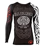Rule Out Long Sleeve Rash Guard Top. All Blacks. New Zeland Rugby Team. Gym. Training. Fitness. Running. Cycling. Kompression T-Shirt. MMA Kampfsport Langarmshirt(Größe XLarge)