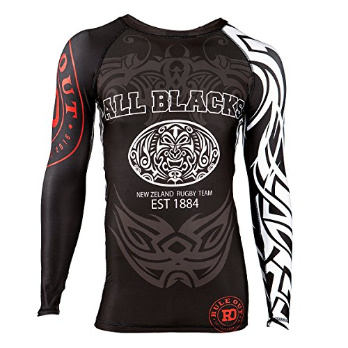 Rule Out Long Sleeve Rash Guard Top. All Blacks. New Zeland Rugby Team. Gym. Training. Fitness. Running. Cycling. Kompression T-shirt. MMA Kampfsport Langarmshirt