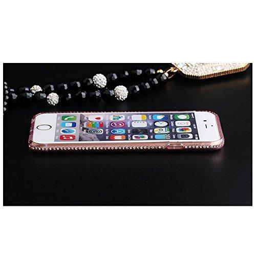 Coque pour iPhone 6S,TPU Gel Souple Etui Housse pour iPhone 6,Leeook Luxe Noble Violet Diamant Strass Briller Doux Mince Souple TPU Case Couvrir Couverture Gel Clair Glitter Crystal Etui Housse de Pro Ice Diamand,Black