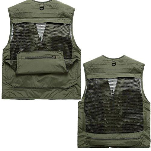 WS668 Herren Atmungsaktive Weste Mesh Gilets Mehrere Tasche Vest Klassisch Mantel Ärmellose Jacke Schießen Weste Mens Coat Armygrün