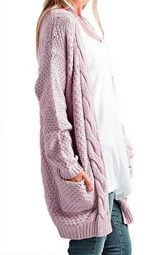 Jusfitsu Damen Lässige Strickmantel Offener Strickjacke Cardigan Lang Longstrickjacke mit Taschen Rosa