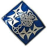 Keltische Kilt-Gürtelschnalle - Highland-Distel, Blaues Emaille-Inlay