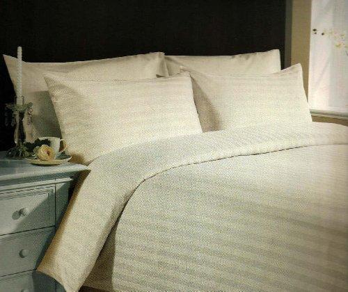 Super Lusso-set doppio Piumino in rasatello di puro cotone, motivo a righe, colore: panna