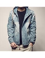 Casual jeans lavados con capucha chaqueta retro chaqueta slim hombres,M