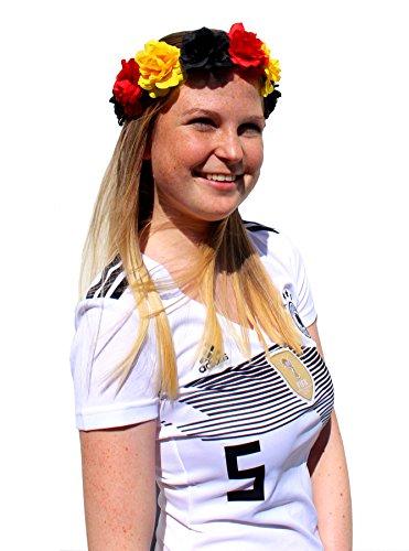 l WM Deutschland Blumen Haarreif Haarband Frauen Schwarz Rot Gold Blumenkranz Accessoire Fan-Artikel für Erwachsene und Kinder (Frauen Fußball Kostüme)