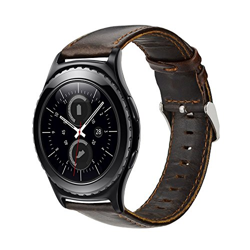 Armband für Gear S2 Classic, 20mm Leder Armband Echtes Leder Uhrenarmbänder für Samsung Gear S2 Classic Smart Watch SM-R732/R735, Gear Sport SM-R600, Withings Steel HR 40mm, Huawei Watch 2 Sport (Kaffee)