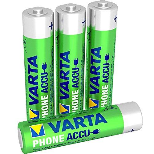 Varta PhoneAccu Micro NI-Mh Akku (AAA 4-er Pack, 800 mAh, Geeignet für schnurlose Telefone, Wiederaufladbar Ohne Memory-Effekt - Sofort einsatzbereit)