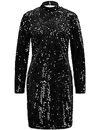 Taifun Damen Kleid Mit Pailletten Figurbetont, Figurbetonte Passform