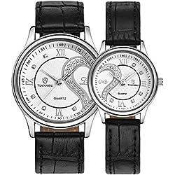 tiannbu fq-102Ultrathin Leder Romantisches weißes Paar Fashion Handgelenk Uhren für Paar Herren Frauen (Set von 2)