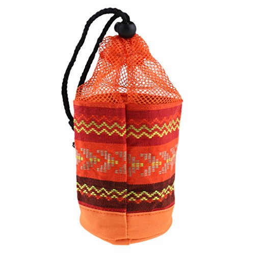 MagiDeal Outdoor Cookware Drawstring Bag Camping Picnic Tableware Organizer Cutlery Dish Plate Storage Bag - Orange, 8.5x19cm