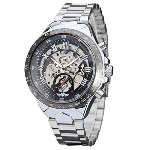 LCLrute Top Qualität Russische Skeleton automatische Uhren für Männer Silber Edelstahl Armbanduhr (Silber)