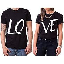 WhyKiki Love King Queen Partnerlook Camiseta de Los Pares Dulce para Parejas como Regalos