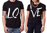 WhyKiki Love King Queen T-Shirt PartnerLook Couple SET Doux pour Les Couples comme des Cadeaux de, Größe2:L;Partner Shirts:Herren T-Shirt Schwarz