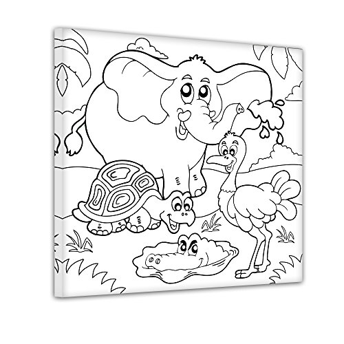 Strauß und Krokodil - Ausmalbild auf Leinwand, aufgespannt auf Rahmen - Quadrat-Format - 30x30 cm - eigene Herstellung bei Bilderdepot24, faire Produktion in Deutschland (Schildkröten-gesicht Malen)