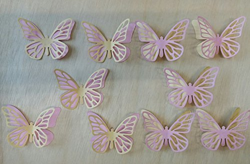 10 PINK AND YELLOW BUTTERFLIES FOR CRAFTING/CARD MAKING