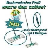 Leifheit - Bodenwischer Profi Teleskopstiel mit 2 Bezügen micro duo collect