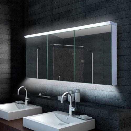 #Lux-aqua Design Badezimmer Spiegelschrank mit LED Beleuchtung 160 x 70 cm – LMC16070#