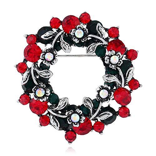OOFAY Brooch Christmas Strass Garland Kragen Pin Metal Fashion Ladies ' Style Vintage Korsage Accessoires,Silver (Silver Christmas Garland)