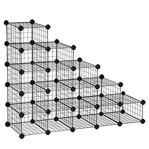 SONGMICS Zapatero Modular con 15 16 Cubos, Rejilla de Alambre de Metal, Estantería de Almacenamiento...