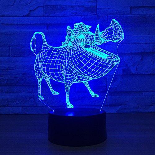 Pony 3D LED Dinosaurier Lampe 7 Farben Ändern LED Hund Bär USB Octopus Nachtlicht Innen Atmosphäre Lampe Für Kinder Spielzeug und Neue Jahr Geschenke Wildschwein Eine Größe