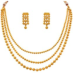 Jfl - Jewellery For Less One Gram Gold Plated Multi Strand Gold Bead Necklace Set With Thread Behind And Earrings For Women And Girls