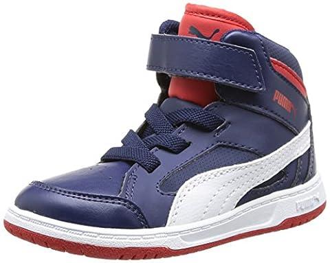 Puma Rebound V2 Hi Rebound V2 Hi Kids/07, Baskets mode bébé garçon, Bleu (Peacoat-White-High Risk Red 03), 20